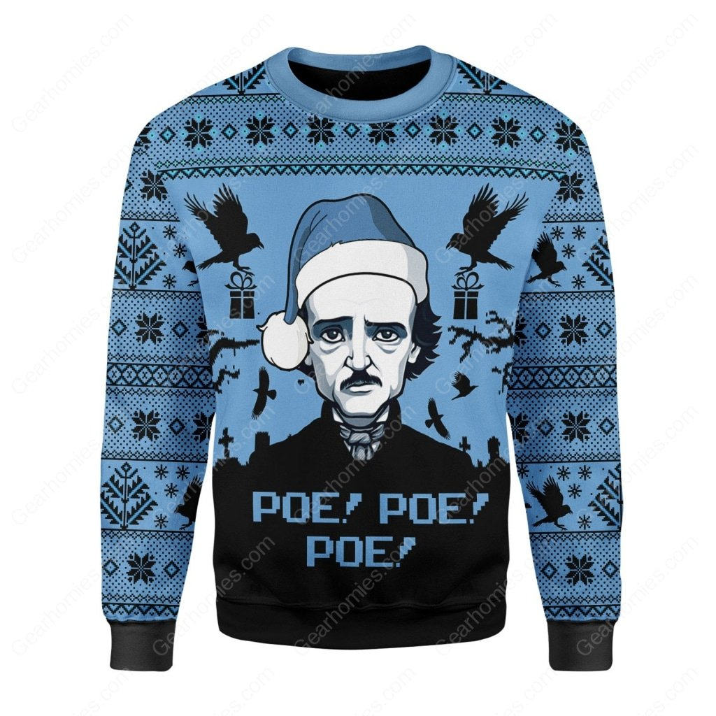 edgar allan poe poe poe all over printed ugly christmas sweater 2