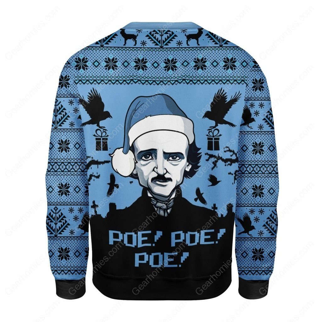 edgar allan poe poe poe all over printed ugly christmas sweater 4