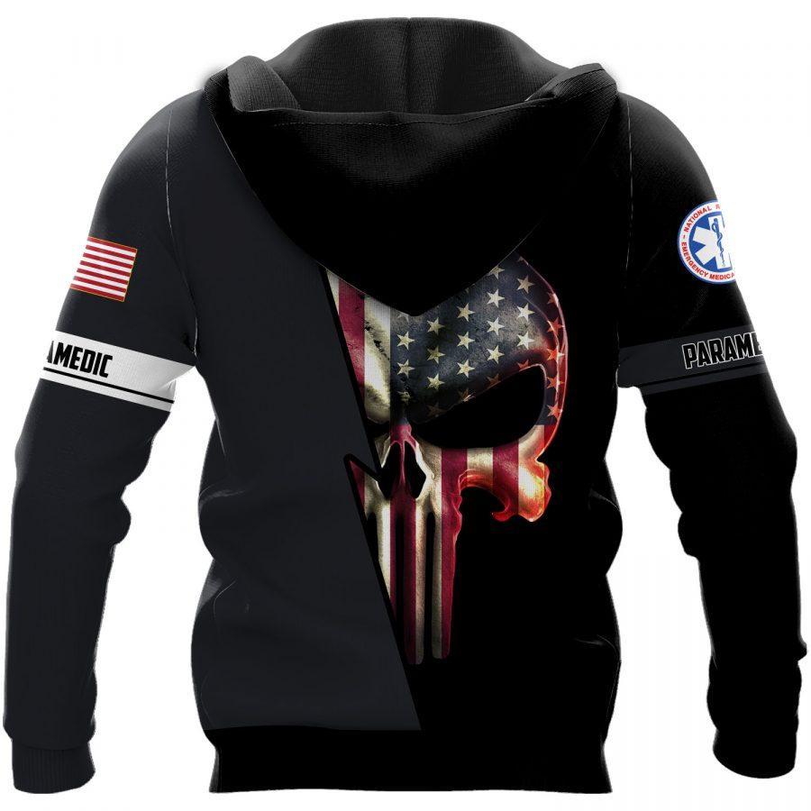 emt paramedic skull american flag full over printed shirt 3