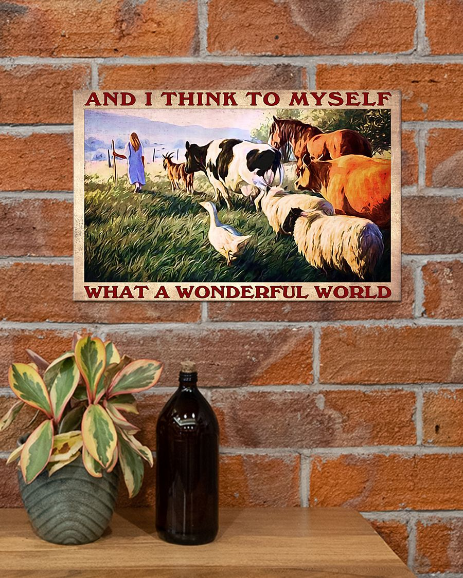 farm animals and i think to myself what a wonderful world vintage poster 4