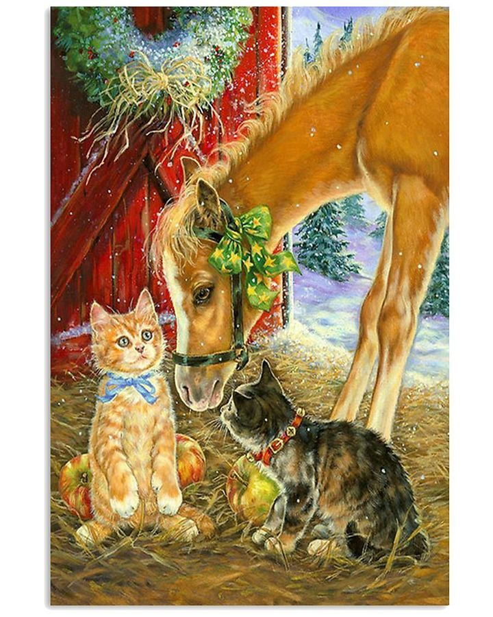 farmer life cat and horse animals lovers vertical poster 1