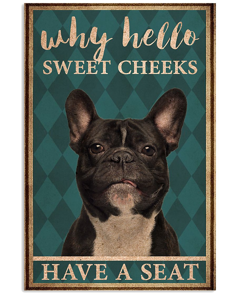 frenchie bulldog why hello sweet cheeks vintage poster 1