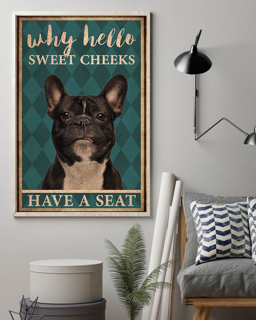 frenchie bulldog why hello sweet cheeks vintage poster 2