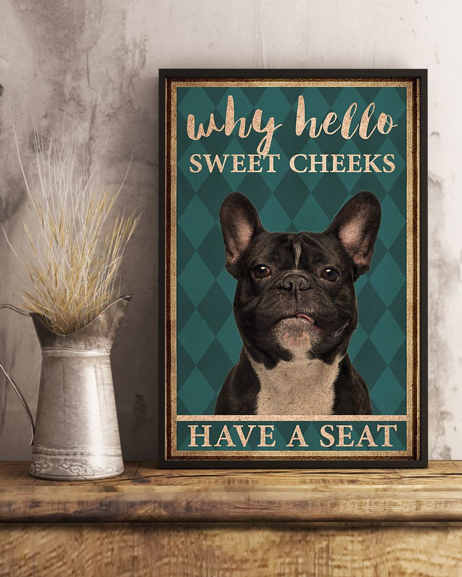 frenchie bulldog why hello sweet cheeks vintage poster 3