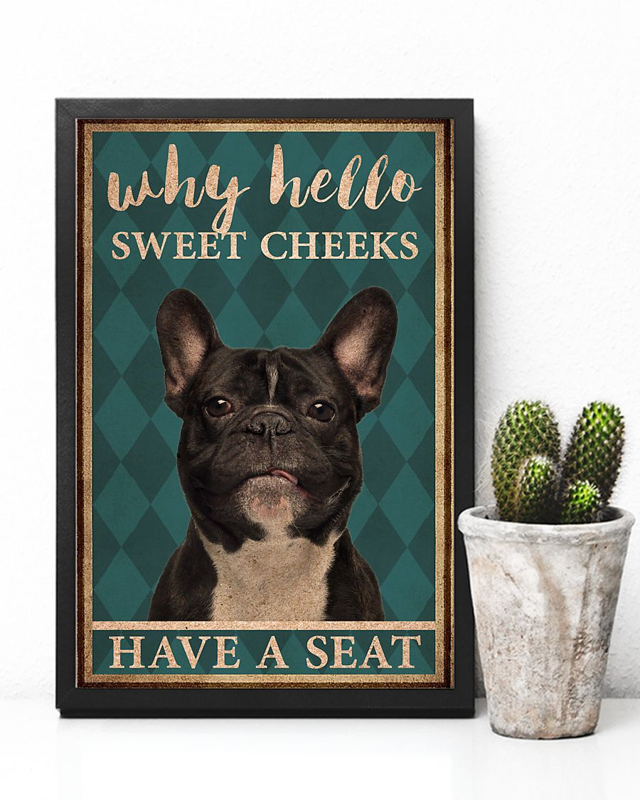 frenchie bulldog why hello sweet cheeks vintage poster 4