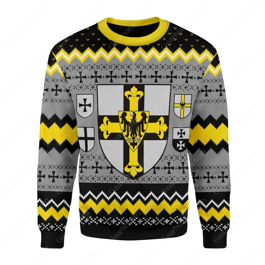grand master of the teutonic order all over printed ugly christmas sweater 2