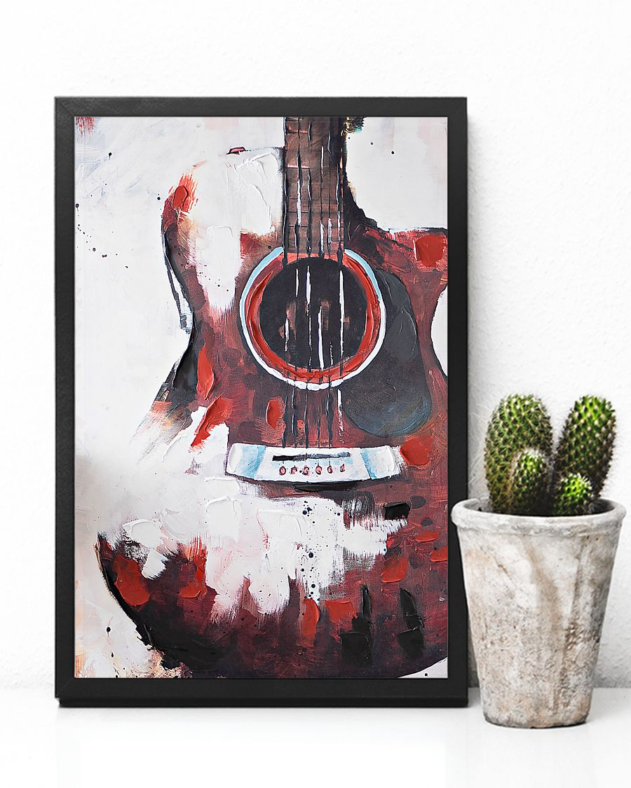 guitar red painting watercolor poster 1