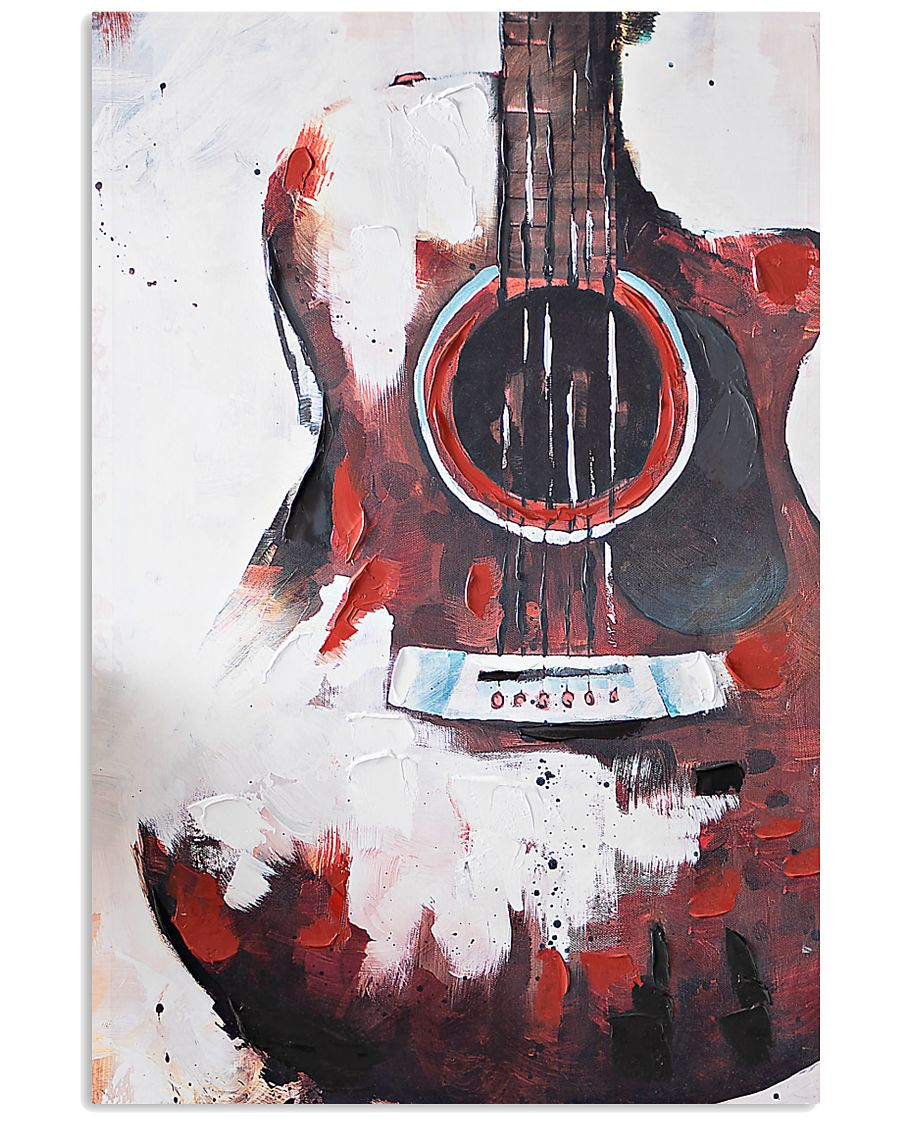 guitar red painting watercolor poster 2