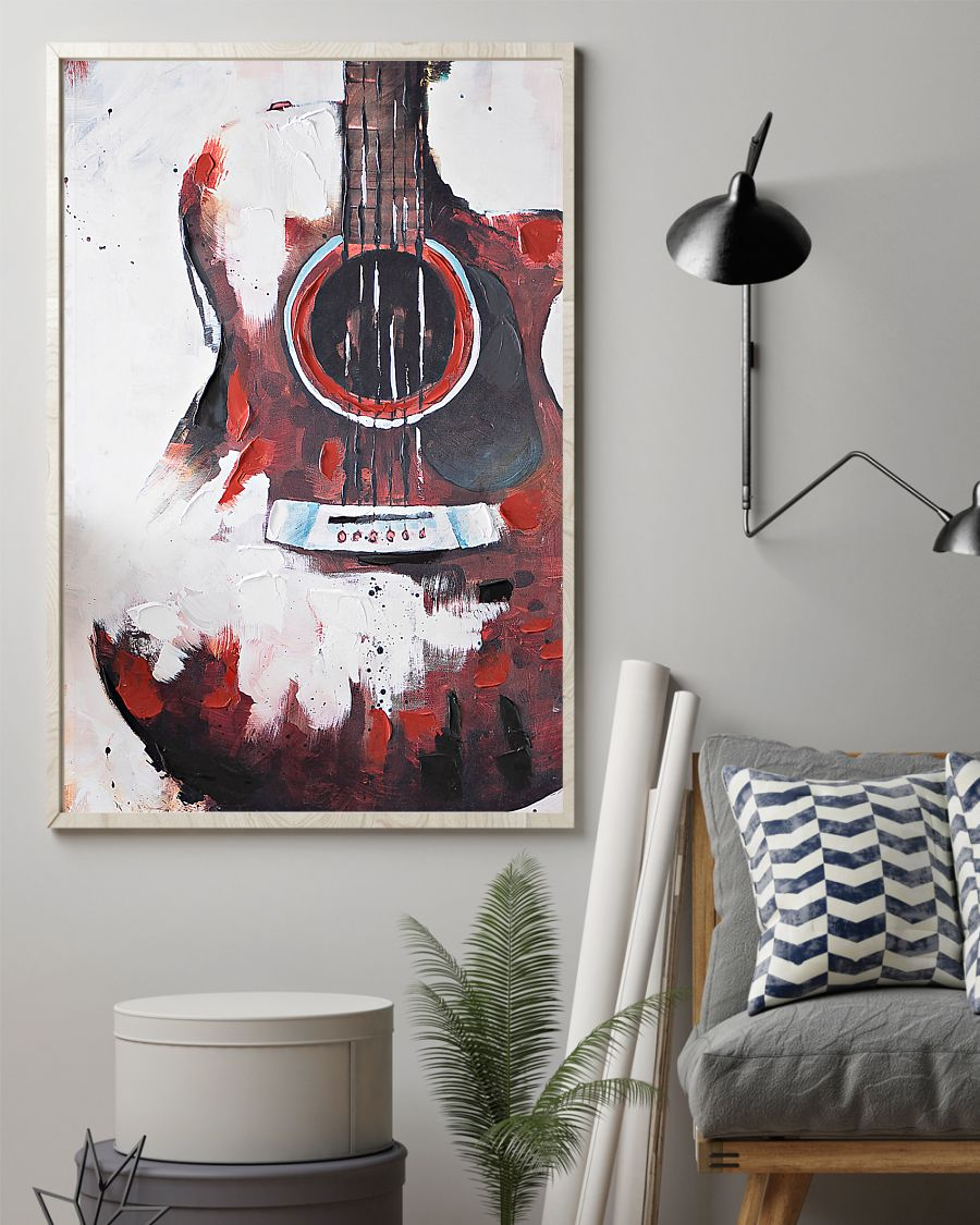 guitar red painting watercolor poster 4