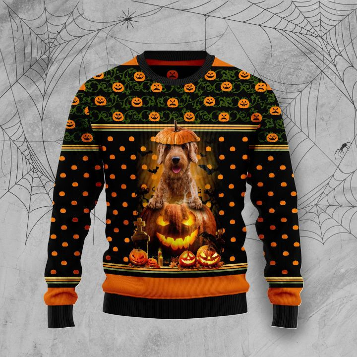 halloween goldendoodle and pumpkin full printing christmas sweater 2