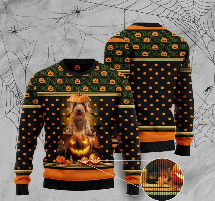 halloween goldendoodle and pumpkin full printing christmas sweater 4