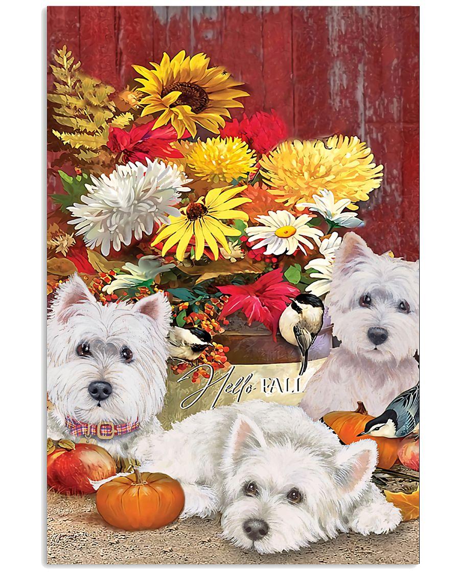 hello fall westie sunflower vintage poster 1