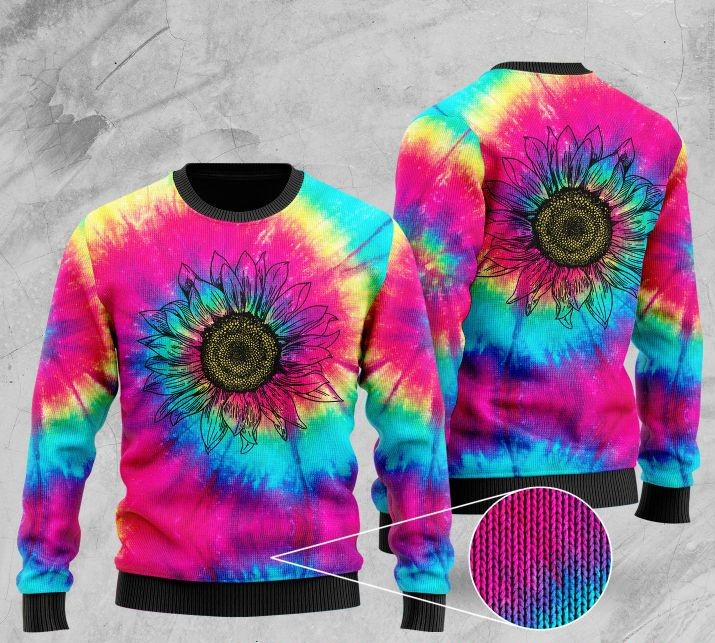 hipppie sunflower tie-dye full printing ugly sweater 2
