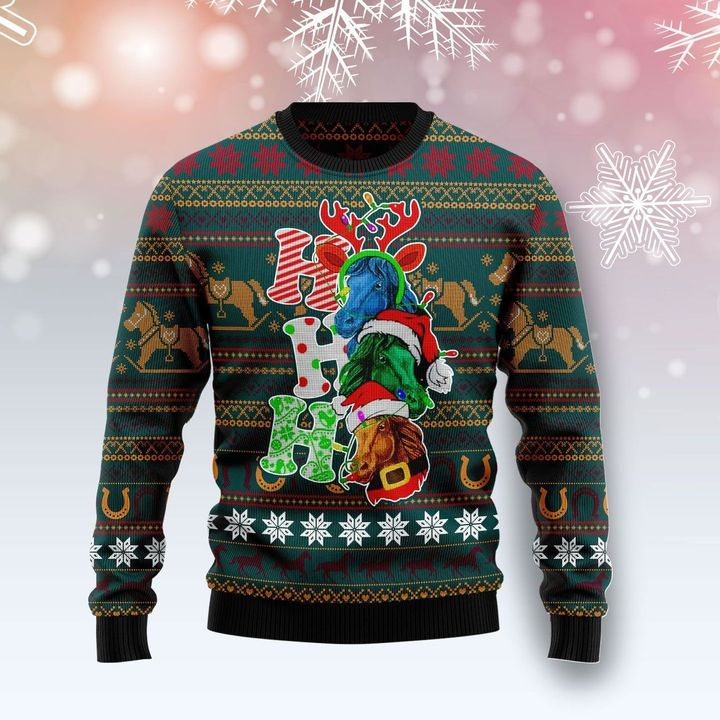 horse ho ho ho full printing christmas sweater 2