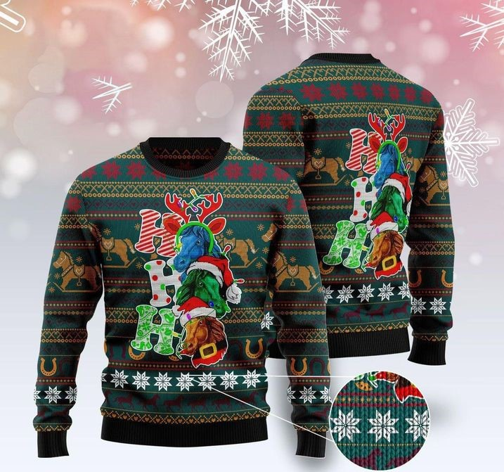 horse ho ho ho full printing christmas sweater 4