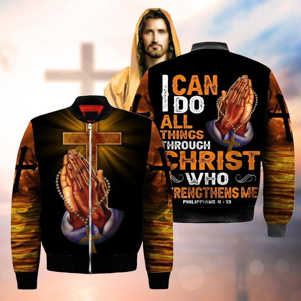 i can do all things through Christ who strengthens me God hand cross full over printed bomber