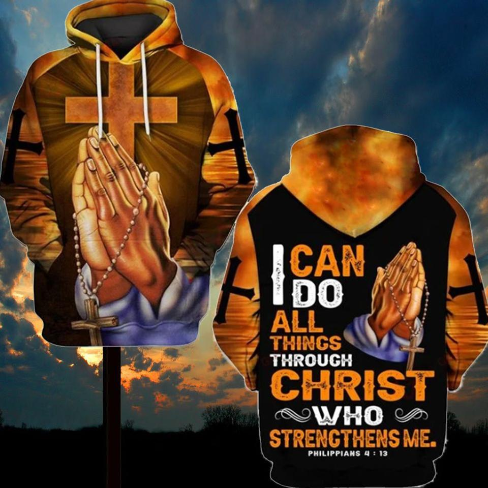 i can do all things through Christ who strengthens me God hand cross full over printed hoodie