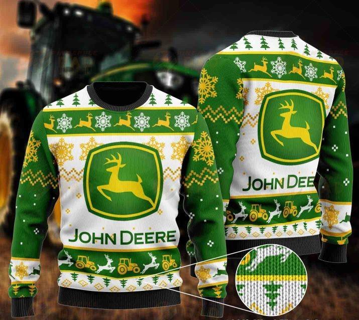 john deere all over printed ugly christmas sweater 2