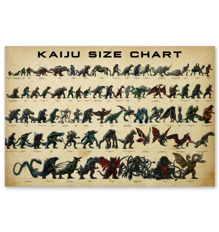 kaiju size chart vintage poster 1