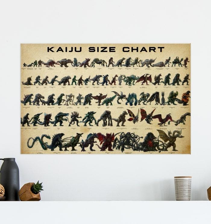 kaiju size chart vintage poster 4