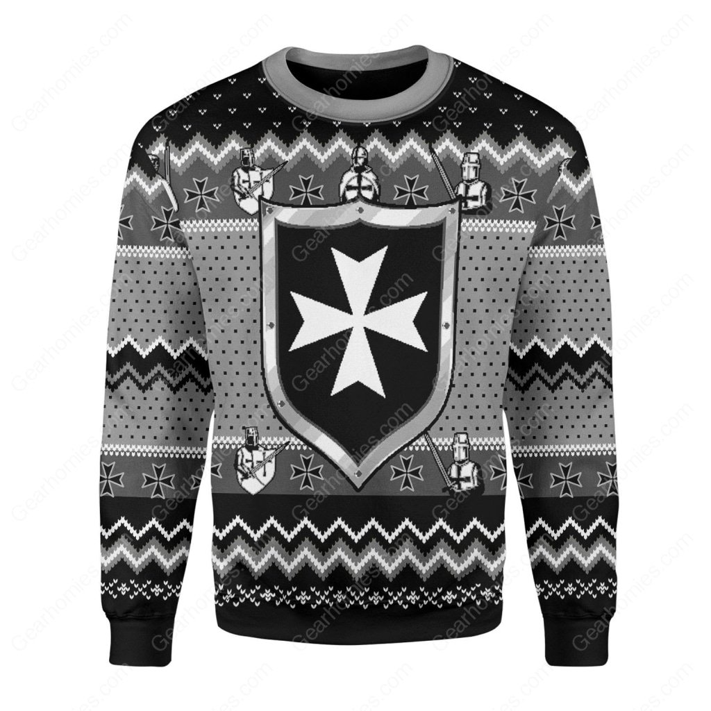 knights hospitaller all over printed ugly christmas sweater 3