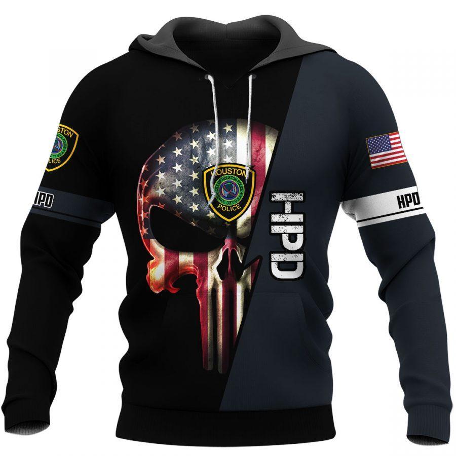 law enforcement houston police department skull full over printed hoodie