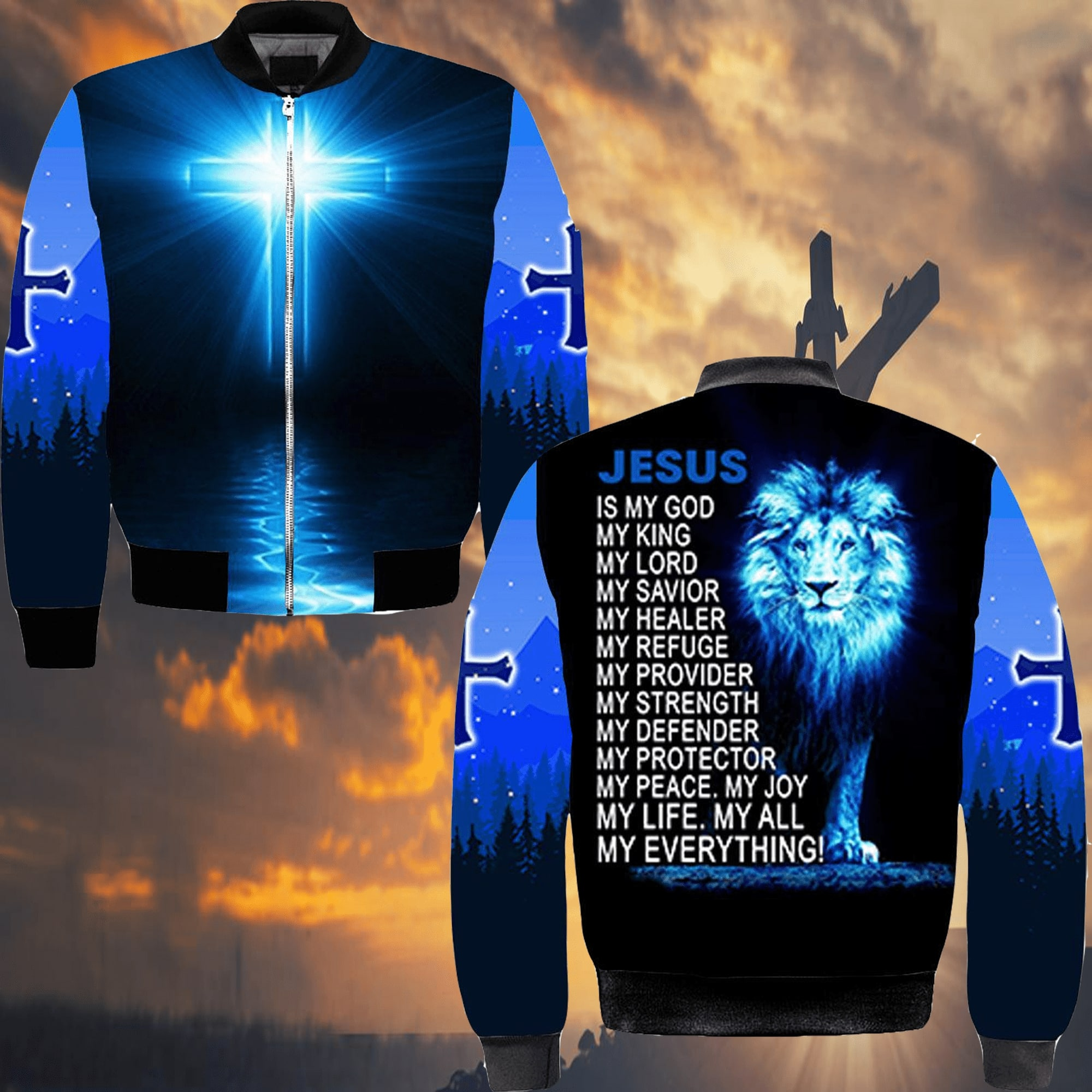 lion Jesus is my God my life my all my everything full over printed bomber