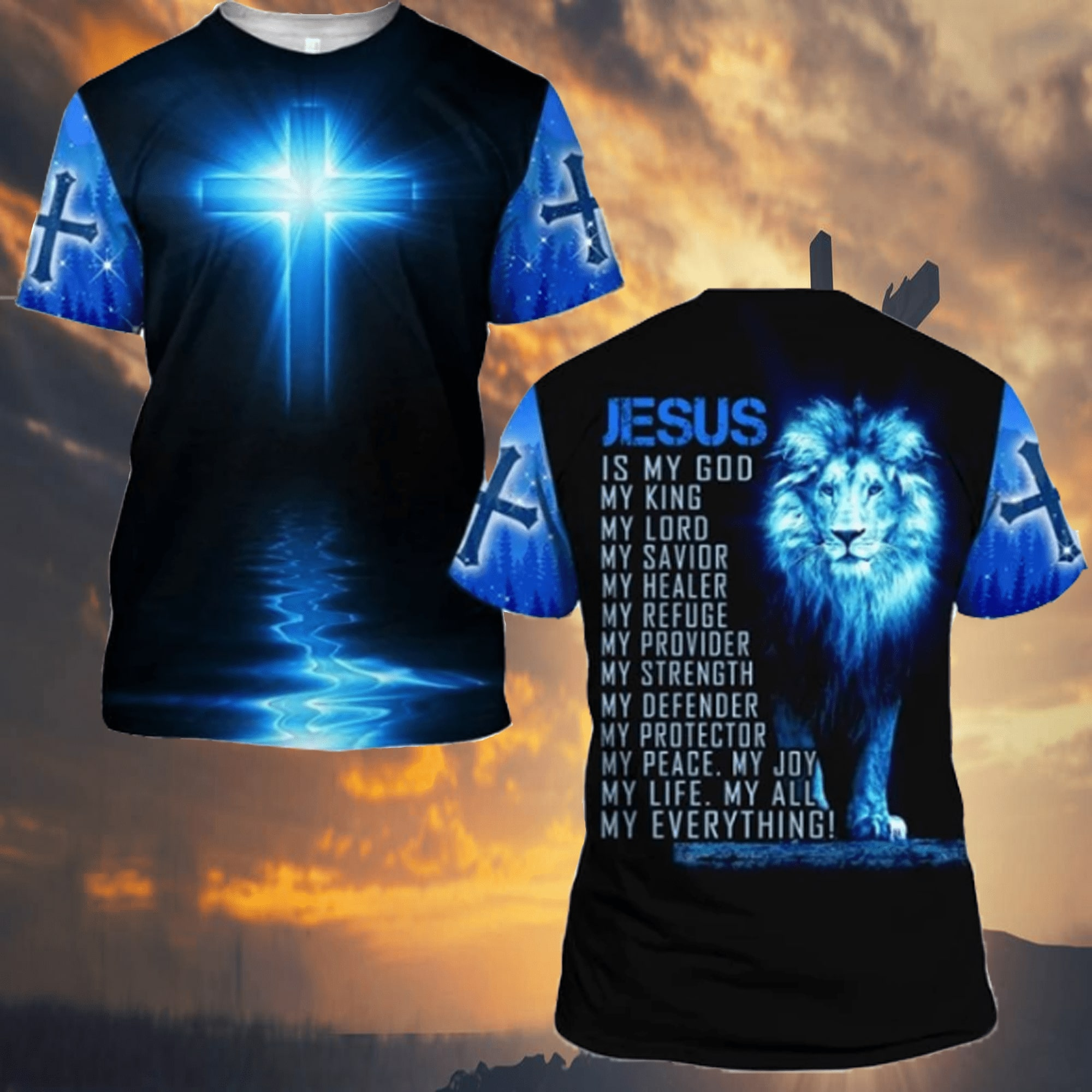lion Jesus is my God my life my all my everything full over printed tshirt