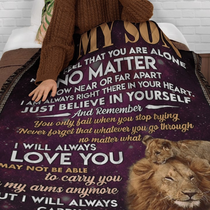 lion to my son never feel that you are alone i will always love you your dad blanket 4