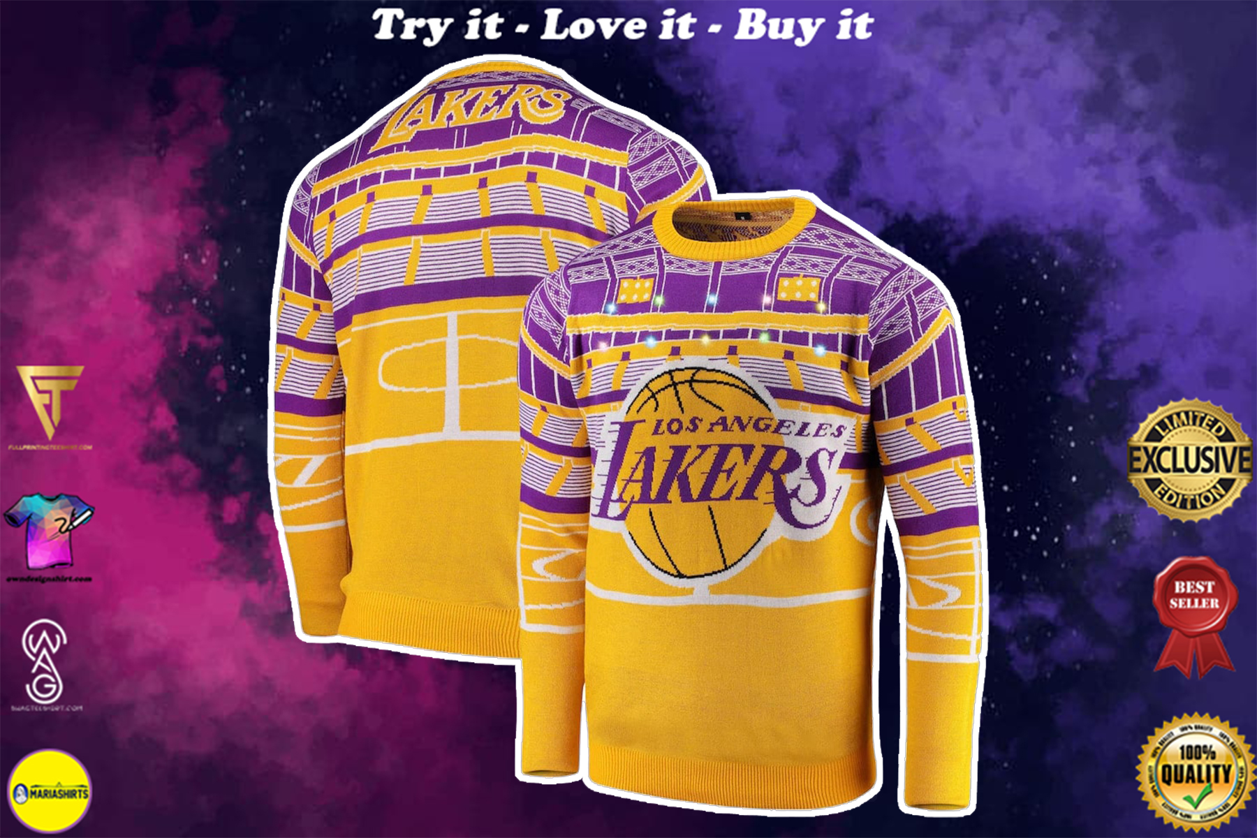 los angeles lakers champions all over printed ugly christmas sweater 2