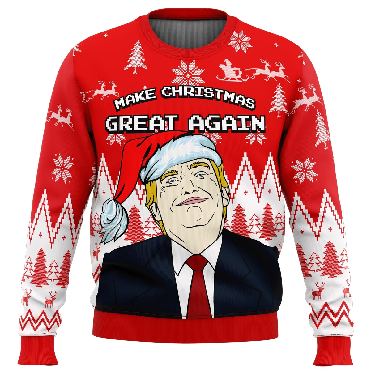 make christmas great again trump all over printed ugly christmas sweater 2