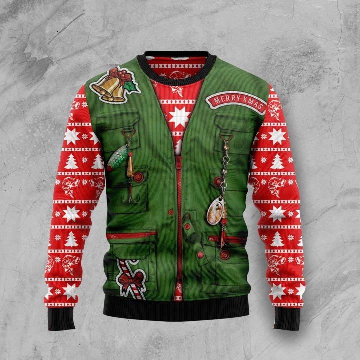 merry fishmas full printing christmas sweater 2