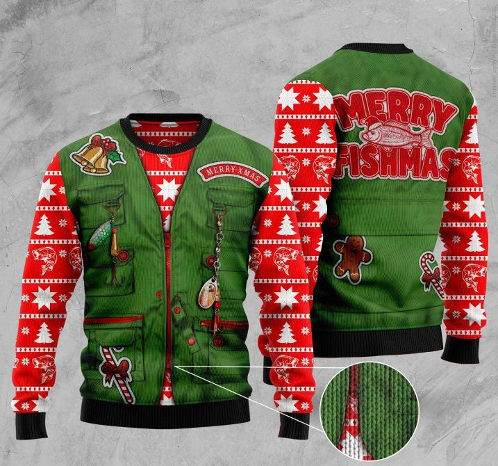 merry fishmas full printing christmas sweater 4