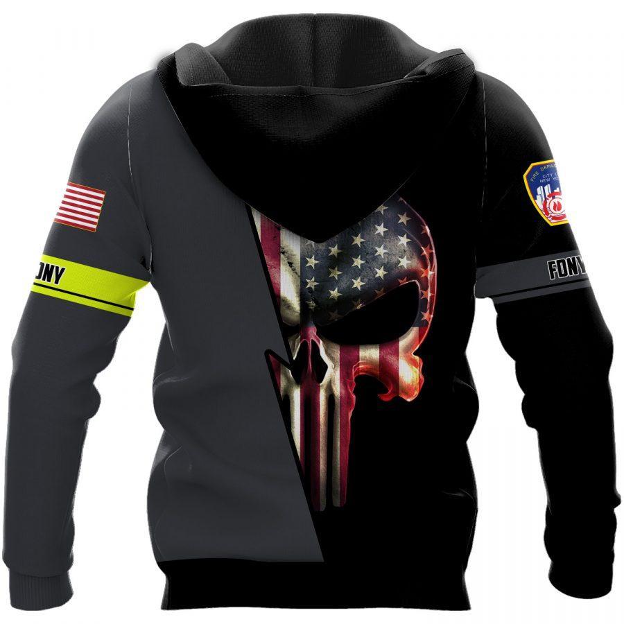 new york city fire department skull full over printed shirt 3