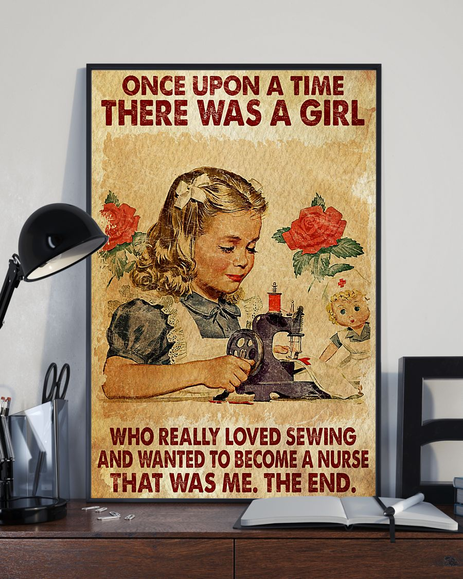 once upon a time there was a girl a girl who really loved sewing and wanted to become a nurse vintage poster 1