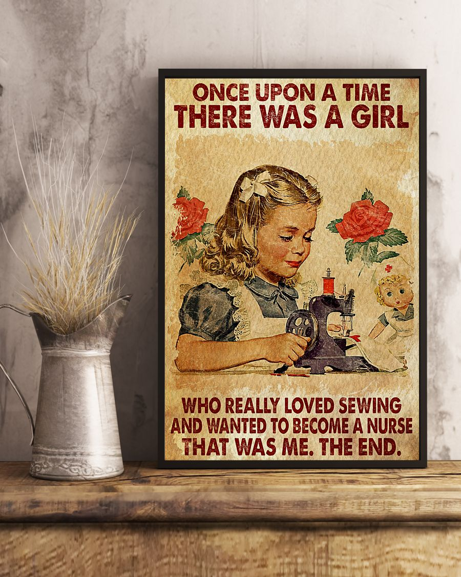 once upon a time there was a girl a girl who really loved sewing and wanted to become a nurse vintage poster 4