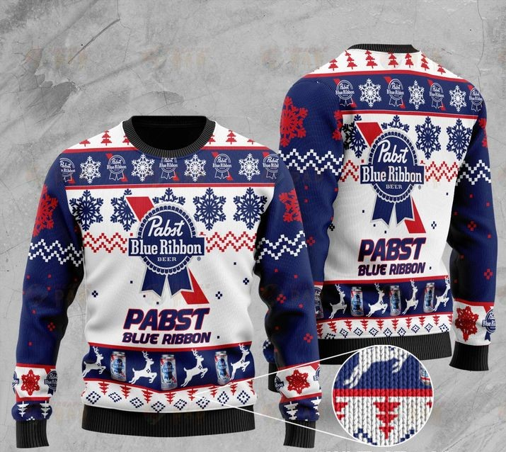 pabst blue ribbon all over printed ugly christmas sweater 2