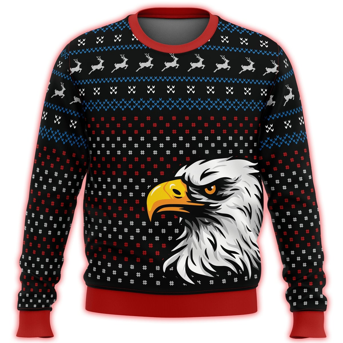 patriotic eagle all over print ugly christmas sweater 3