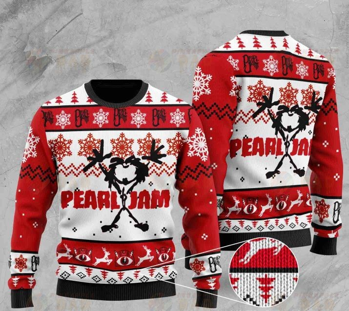 pearl jam rock band all over printed ugly christmas sweater 2
