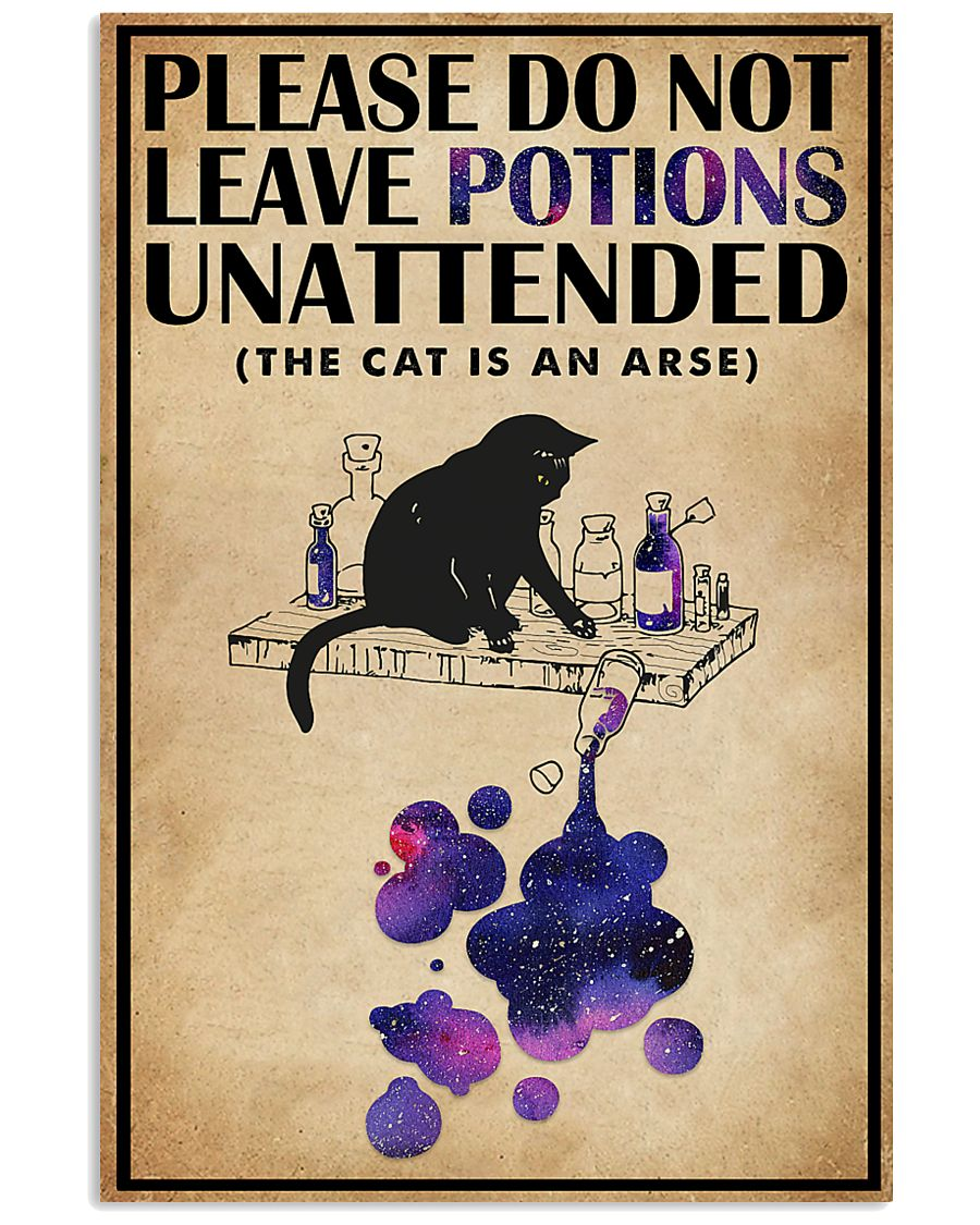 please do not leave potions unattended black cat vintage poster 1