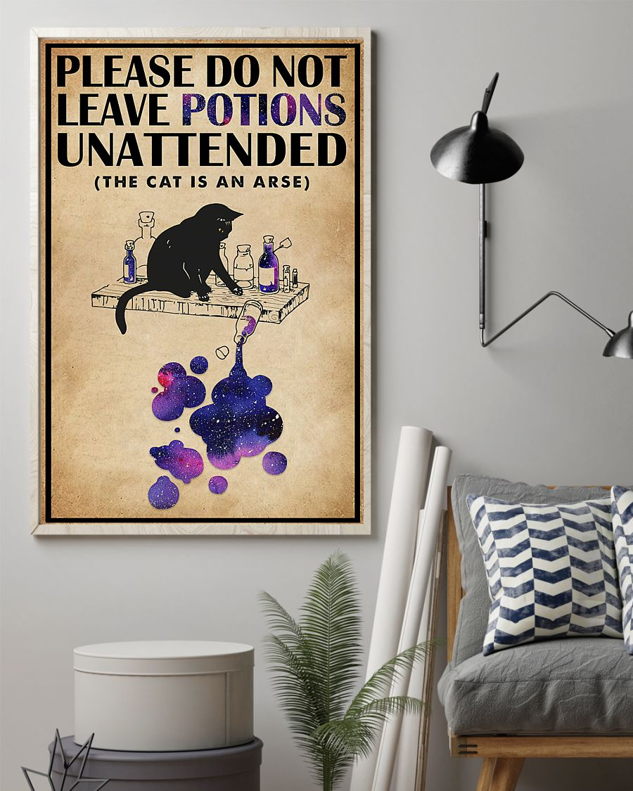 please do not leave potions unattended black cat vintage poster 2