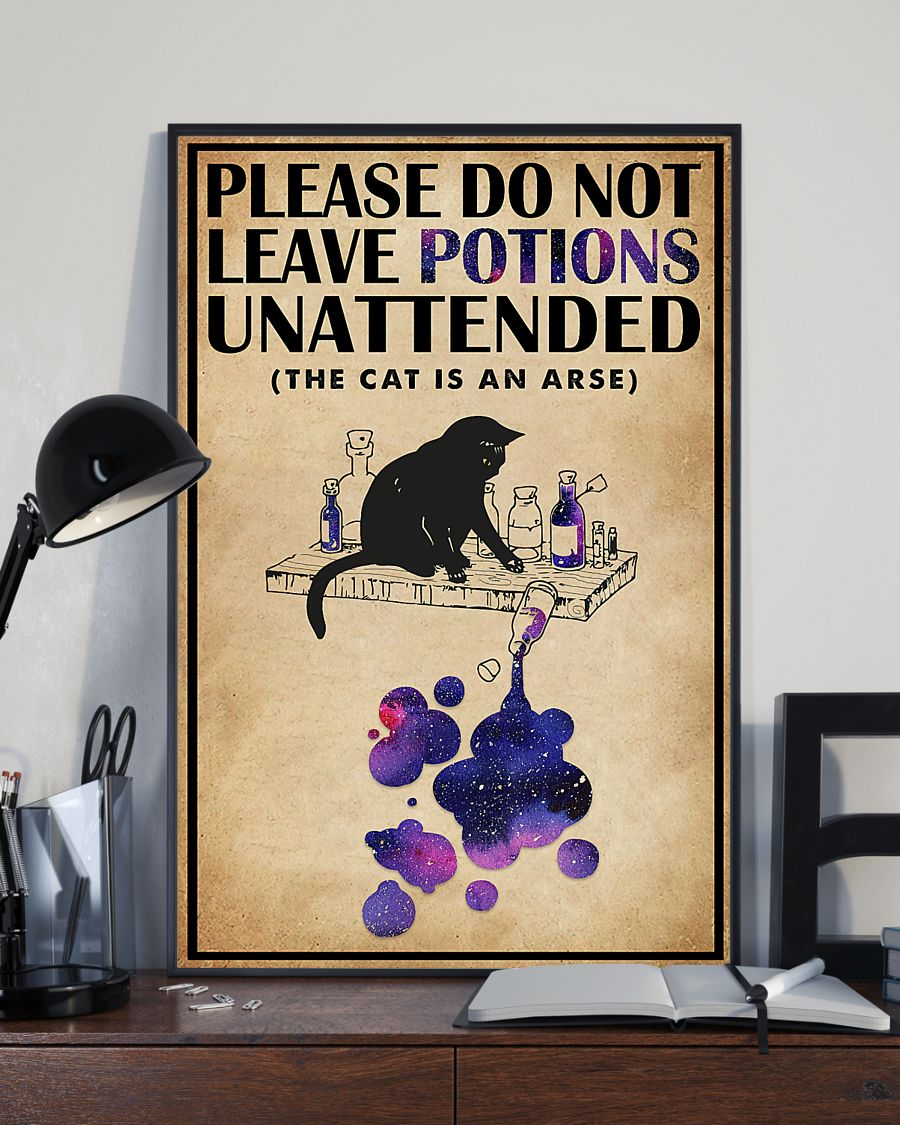 please do not leave potions unattended black cat vintage poster 3