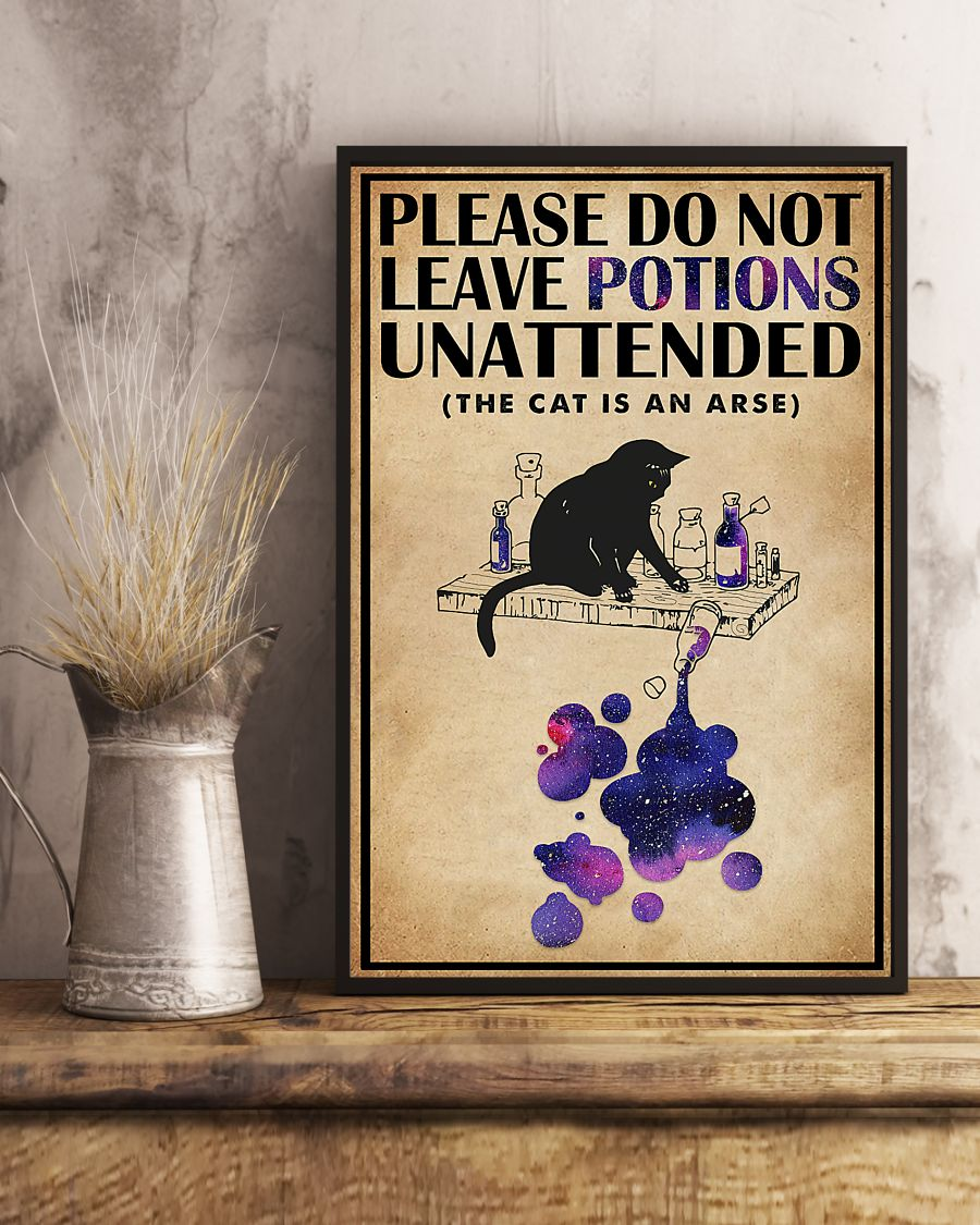 please do not leave potions unattended black cat vintage poster 4