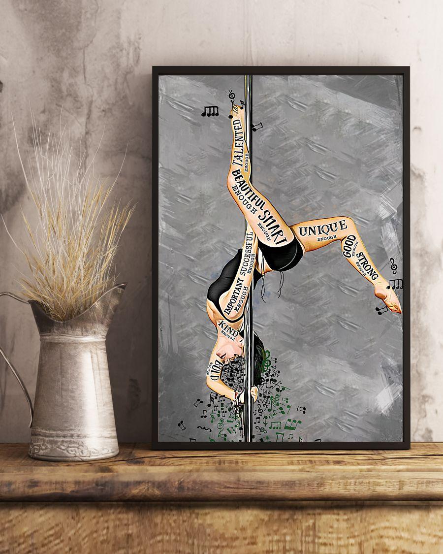 pole dance i am beautiful enough smart enough vintage poster 4