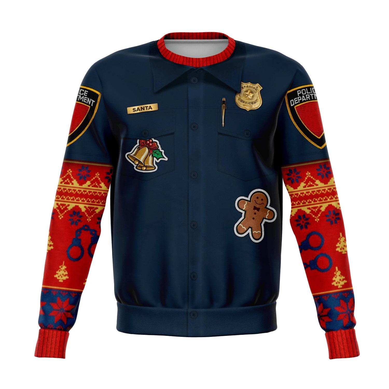 police navidad all over print ugly christmas sweater 2