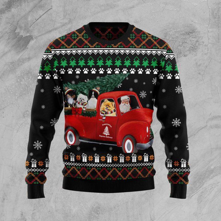 pomeranian red truck full printing christmas sweater 3