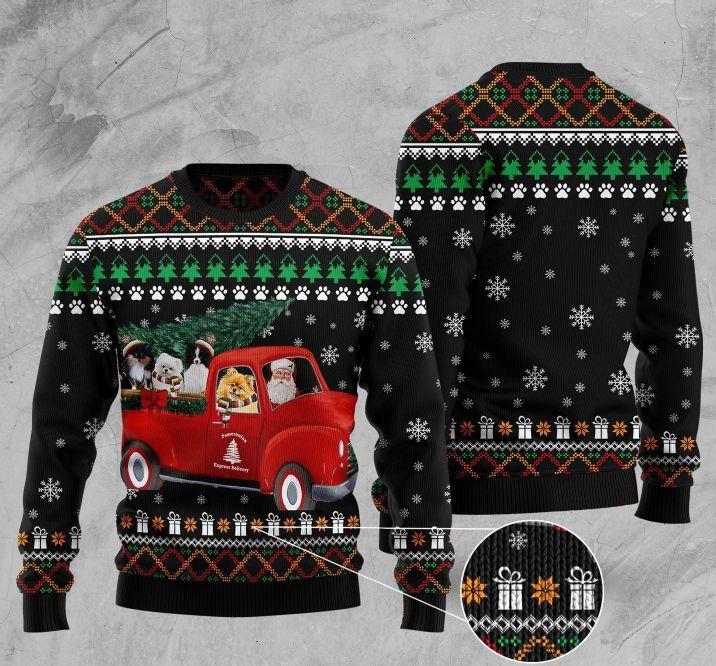 pomeranian red truck full printing christmas sweater 4