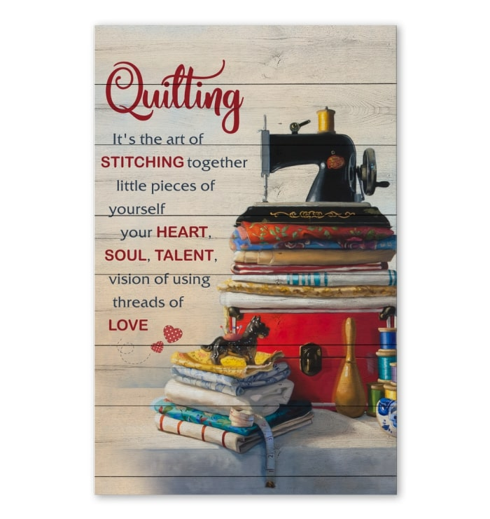 quilting its the art of stitching together vintage poster 1