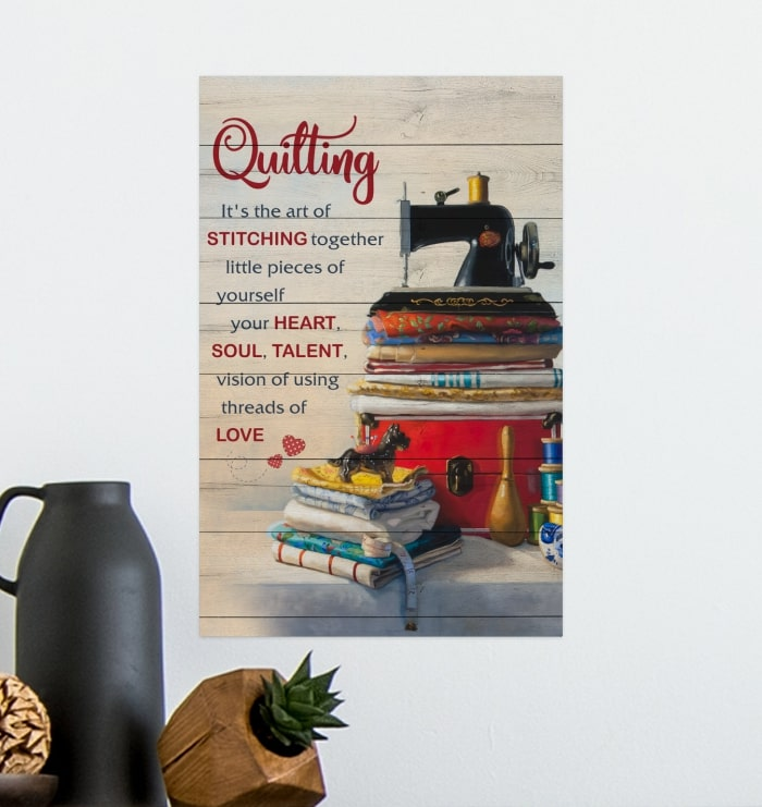 quilting its the art of stitching together vintage poster 4