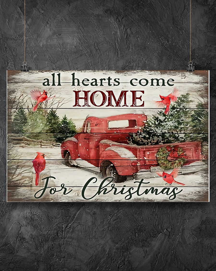 red truck and cardinal bird all hearts come home for christmas poster 2